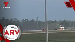 Un jet privado aterrizó en medio de intensas llamas en Florida y todo quedó grabado | Telemundo
