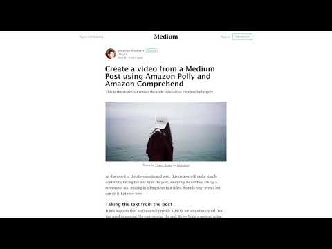 Create a video from a Medium Post using Amazon Polly and Amazon Comprehend