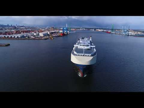 Autocarrier Clip : Morning Courier departing port of Philadelphia