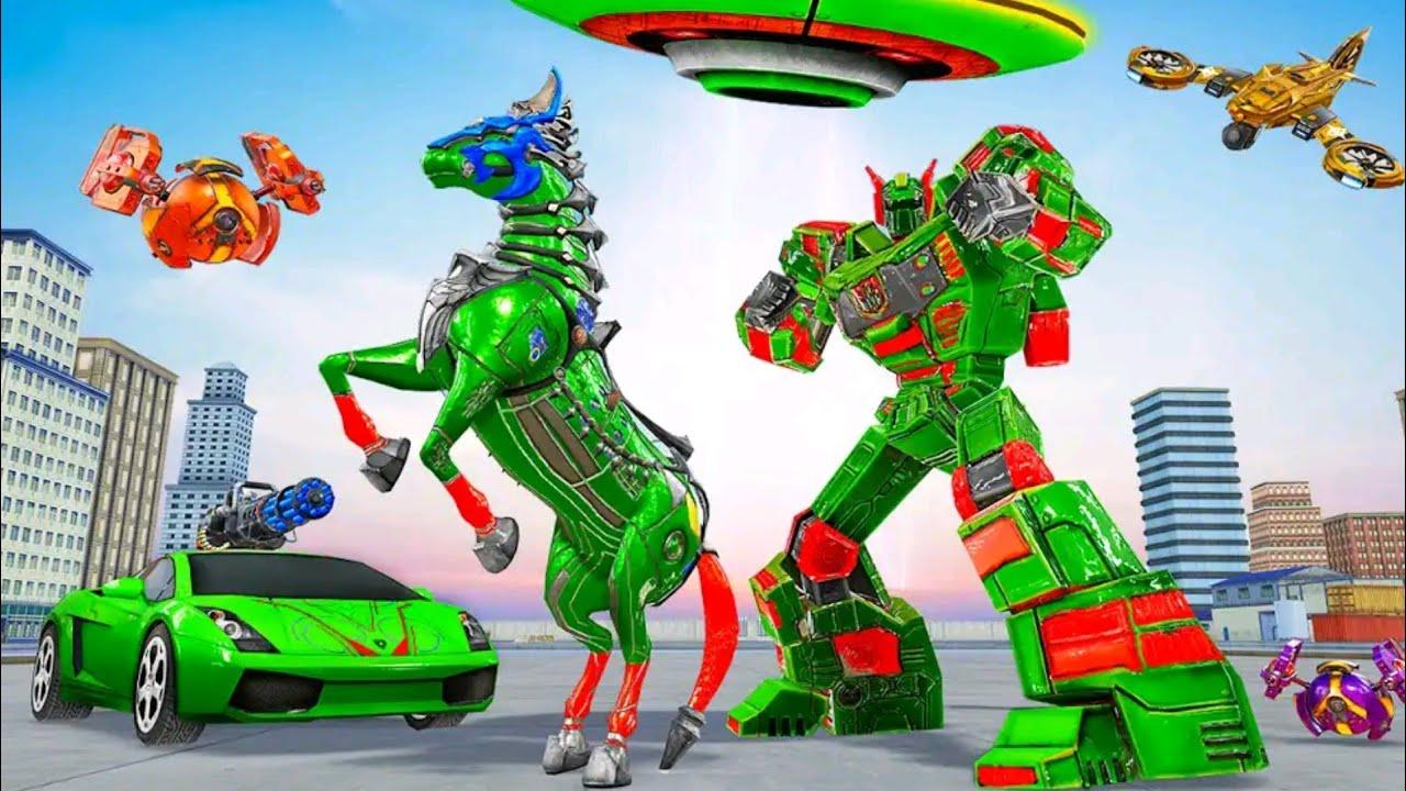 Robot Kuda Berubah Jadi Mobil Balap Dan Pesawat Horse Robot Car Transform Game Space Ship Wars Youtube