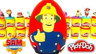 Huevo Sorpresa Gigante de Sam El Bombero en Español de Plastilina Play Doh