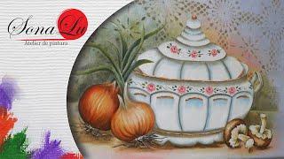 Sopeira com Cebolas e Cogumelos em Tecido (Parte 1)