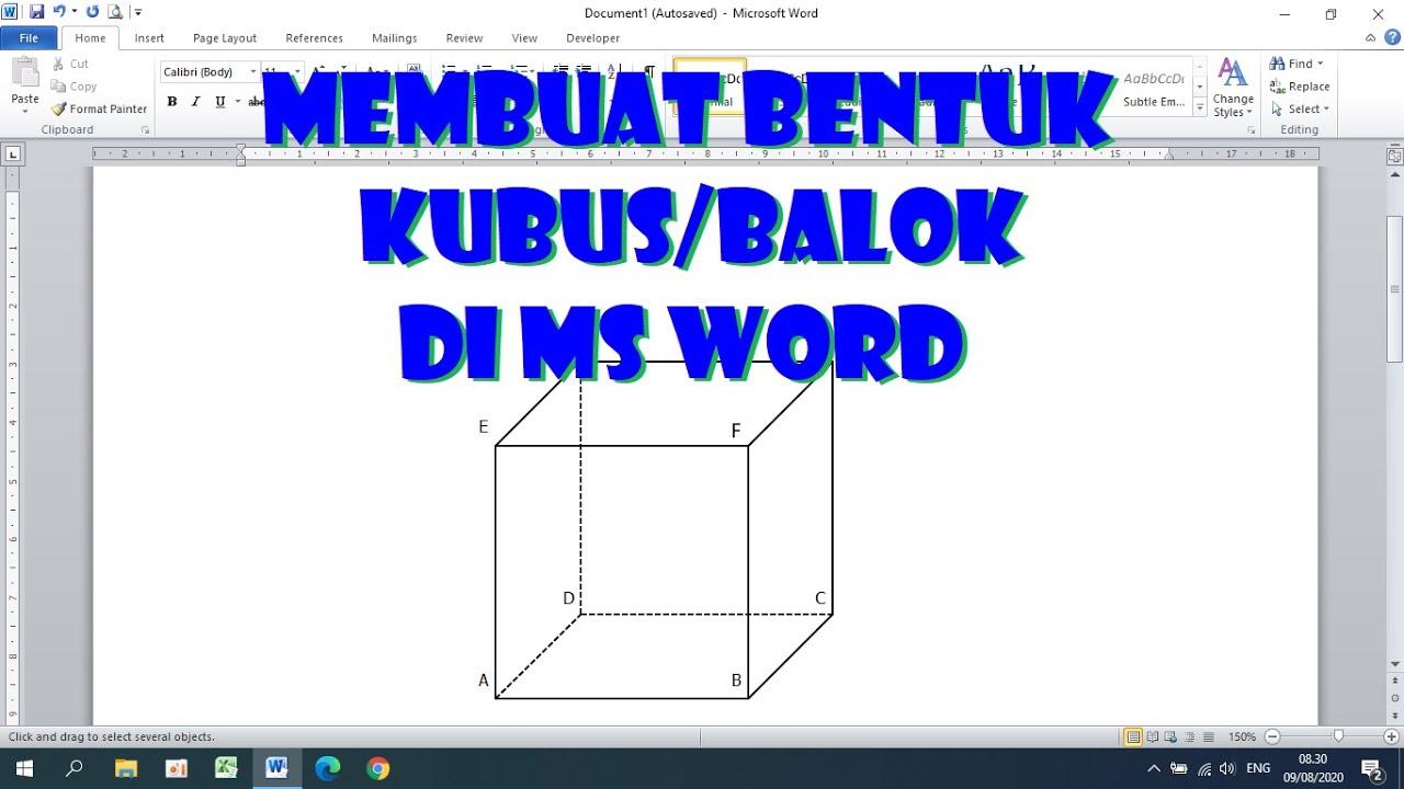 Cara Membuat Bentuk Kubus atau Balok di Ms Word