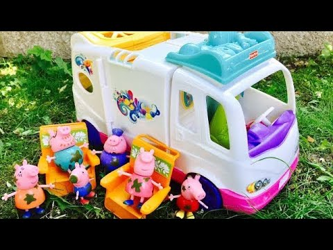 FISHER PRICE Loving Family Beach Vacation Mobile Home OPENING With Peppa Pig TOYS!