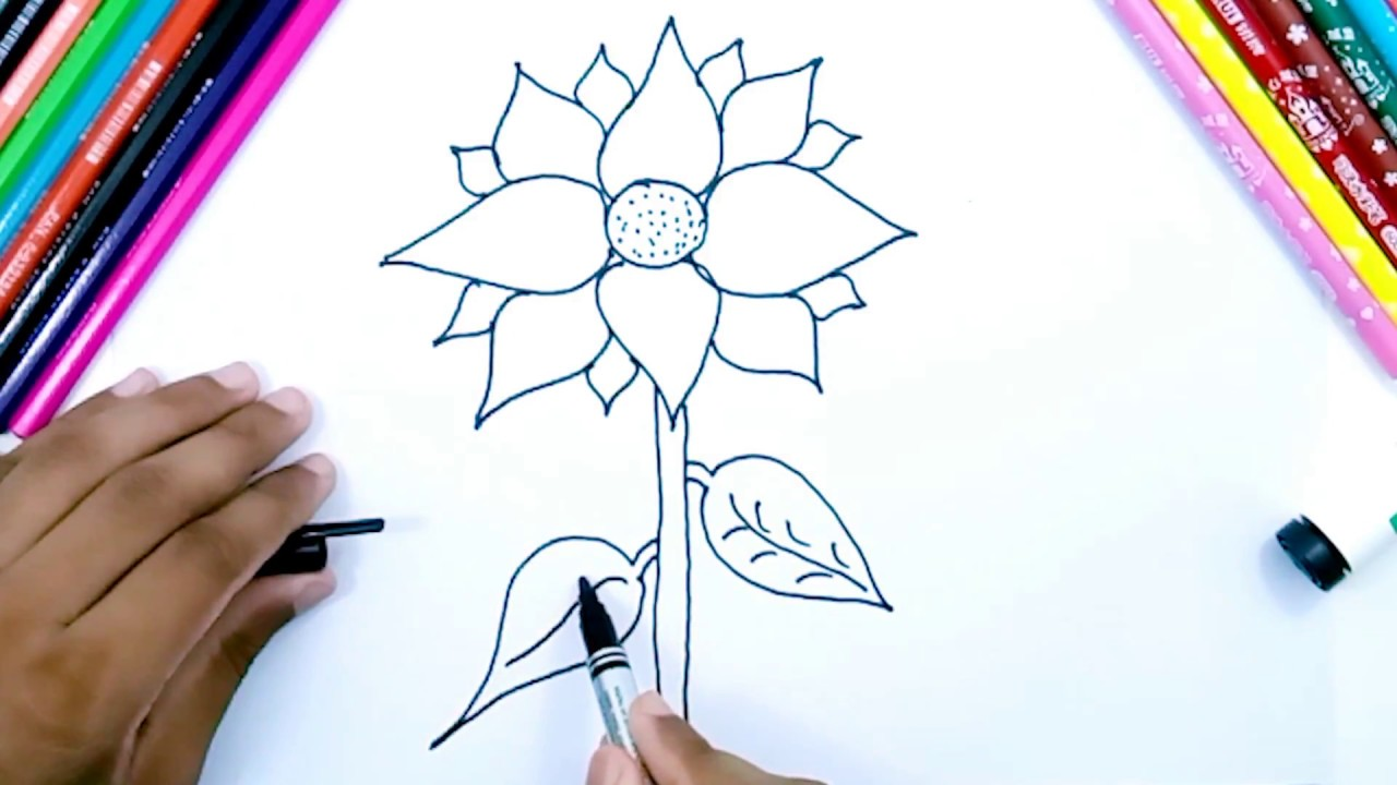 How to draw sunflower - Easy pencil drawing for kids ...