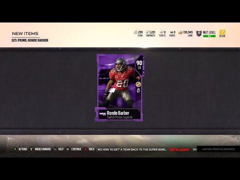 Madden 18 Ultimate Team Twitch Legend Ronde Barber - Upgraded to 90 Overall Stats and Information