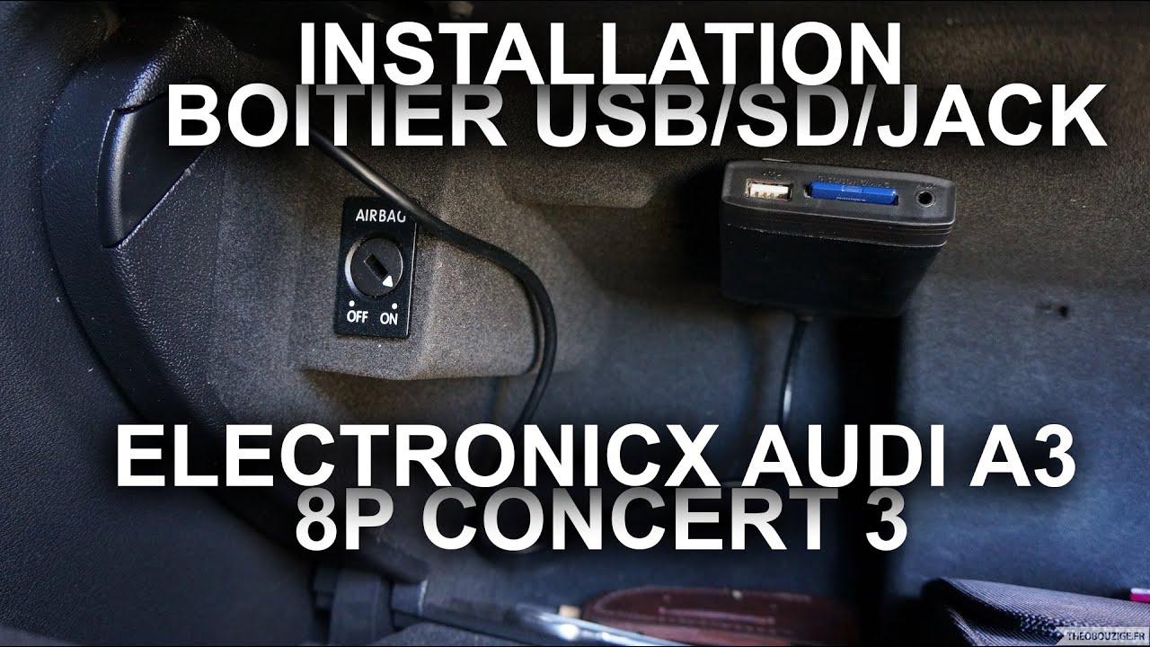 Installation du boitier USB/SD/Jack de chez Electronicx sur Audi A3 équipé du Concert 3 12pins ...