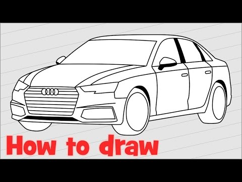 How to draw a car Audi A4 sedan 2017 step by step