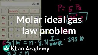 Thermodynamics part 5: Molar ideal gas law problem | Physics | Khan Academy