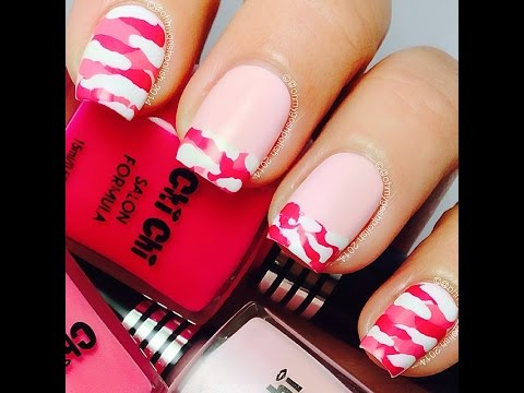 Easy Pink Camo Nail Art Youtube