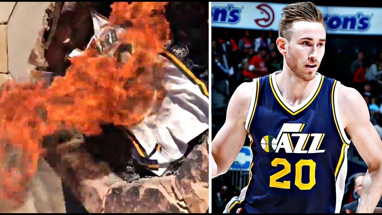 Utah Jazz Fans Burn Gordon Hayward s Jersey After Signing With Boston  Celtics dfccead37