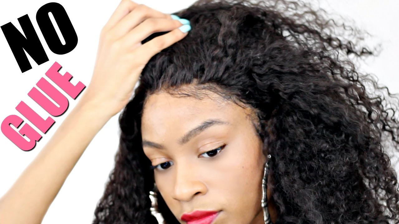 How I Apply A Lace Wig WITHOUT GLUE▻ NO TAPE NO SEWING - YouTube