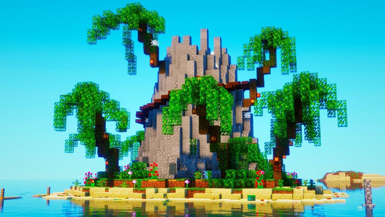 VOLCANO ISLAND in Minecraft [Timelapse]