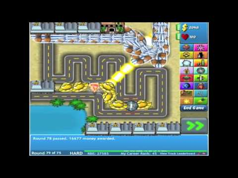 Bloons Tower Defense 4 - Track 1 - Hard - Level 1-96 *NO MISSES*
