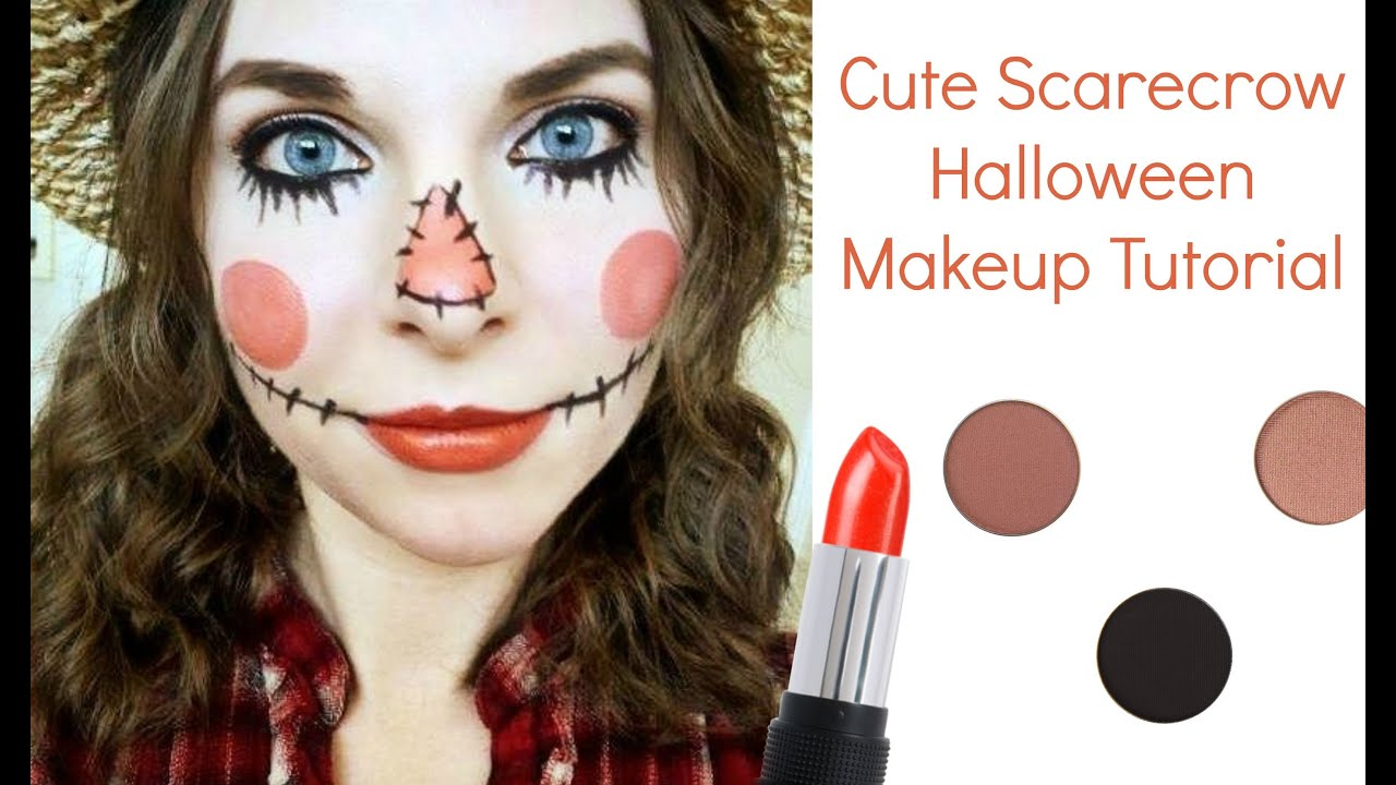 Cute Scarecrow Halloween Makeup Tutorial - YouTube