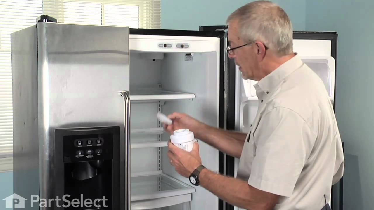 Refrigerator Maintenance Changing Ice Water Filter GE Part MWF
