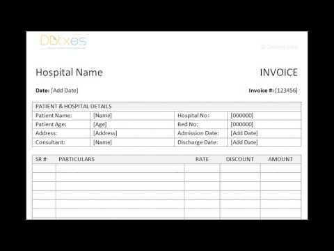 MEDICAL BILL format - YouTube - Medical Invoice