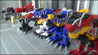 Power Rangers Dino Charge 4 Dinosaur Megazord Toys Transformation 파워레인저 다이노포스 4대 공룡 로봇 장난감 변신