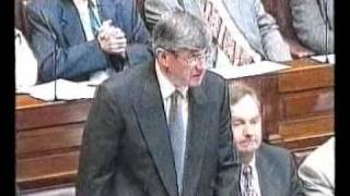 "Ray Burke TD draws his ""Line in the Sand"" in Dail Eireann, September 1997"