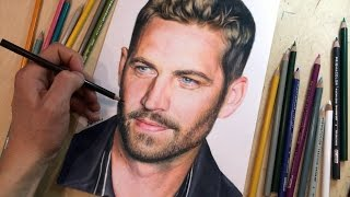 Colored pencil drawing of Paul Walker. Time-lapse video