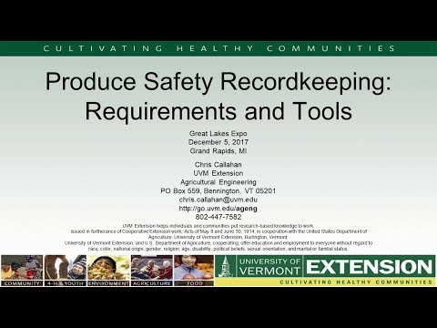 Produce Safety Record Keeping Requirements and Tools