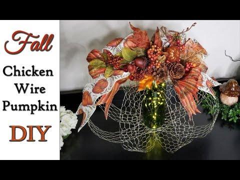 Fall Chicken Wire Pumpkin DIY 🐥😊