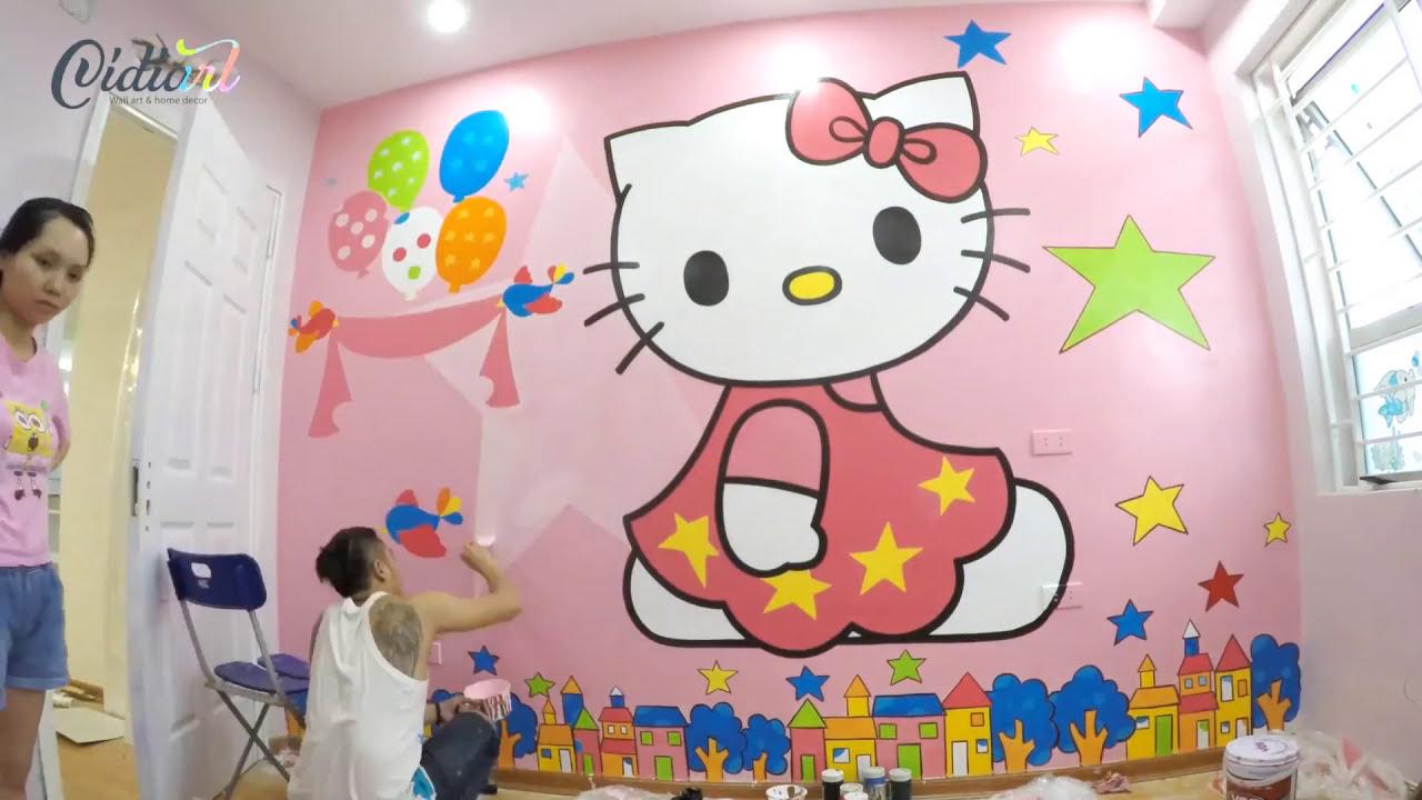 Vẽ tranh tường phòng em bé hello kitty – CIDIART.VN