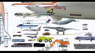 世界の乗り物大きさ比べ World biggest machines size Comparison Figure