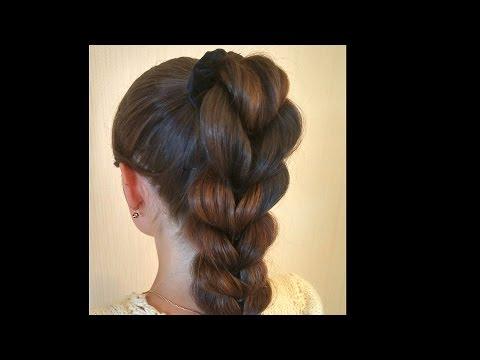 Причёска на длинные волосы с резинками