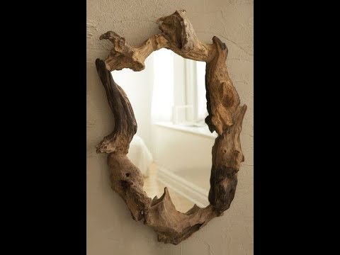 Wood decoration ideas, Wooden table, candle holder, mirror