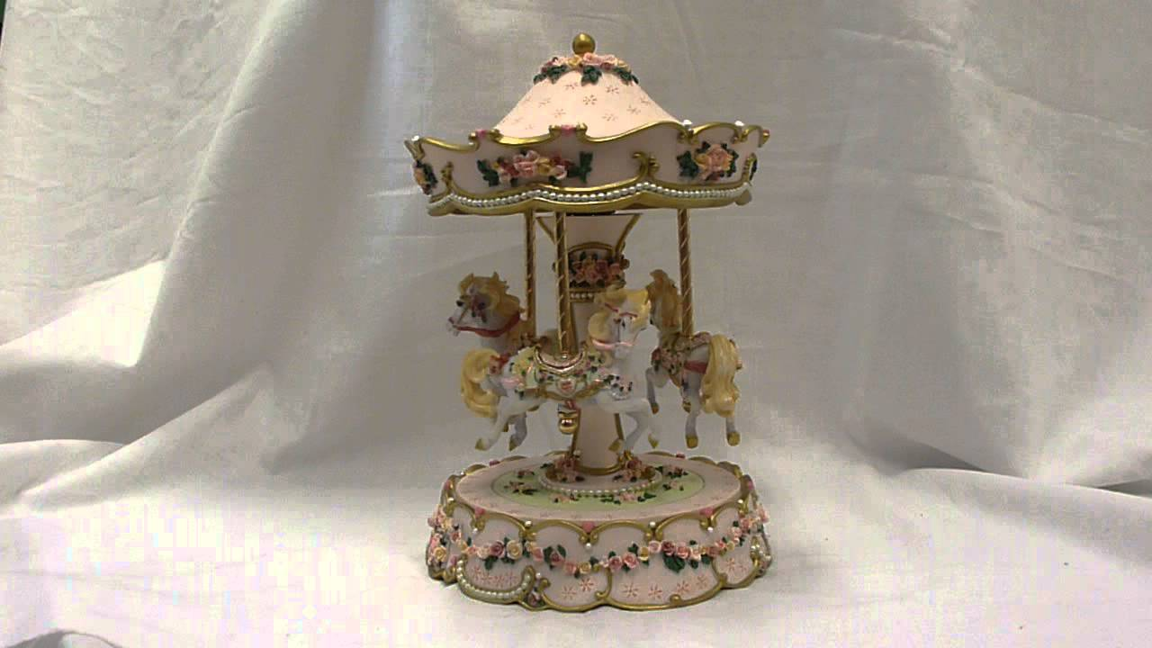 Hearts & Roses Carousel Animated Music Box