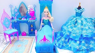 💙Barbie princess bedroom💙Elsa Frozen💙Princess dollhouse morning routine bathroom shower dress