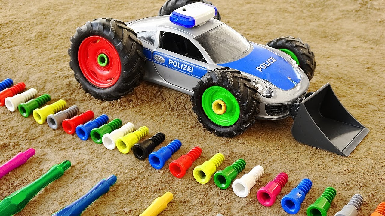 Police Car Tractor Truck Toys Assembly Cars