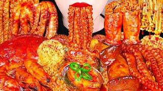 SPICY SEAFOOD BOIL MUKBANG 매운 해물찜 먹방 OCTOPUS, SHRIMP, SCALLOP, ENOKI MUSHROOM COOKING&ampEATING SOUNDS
