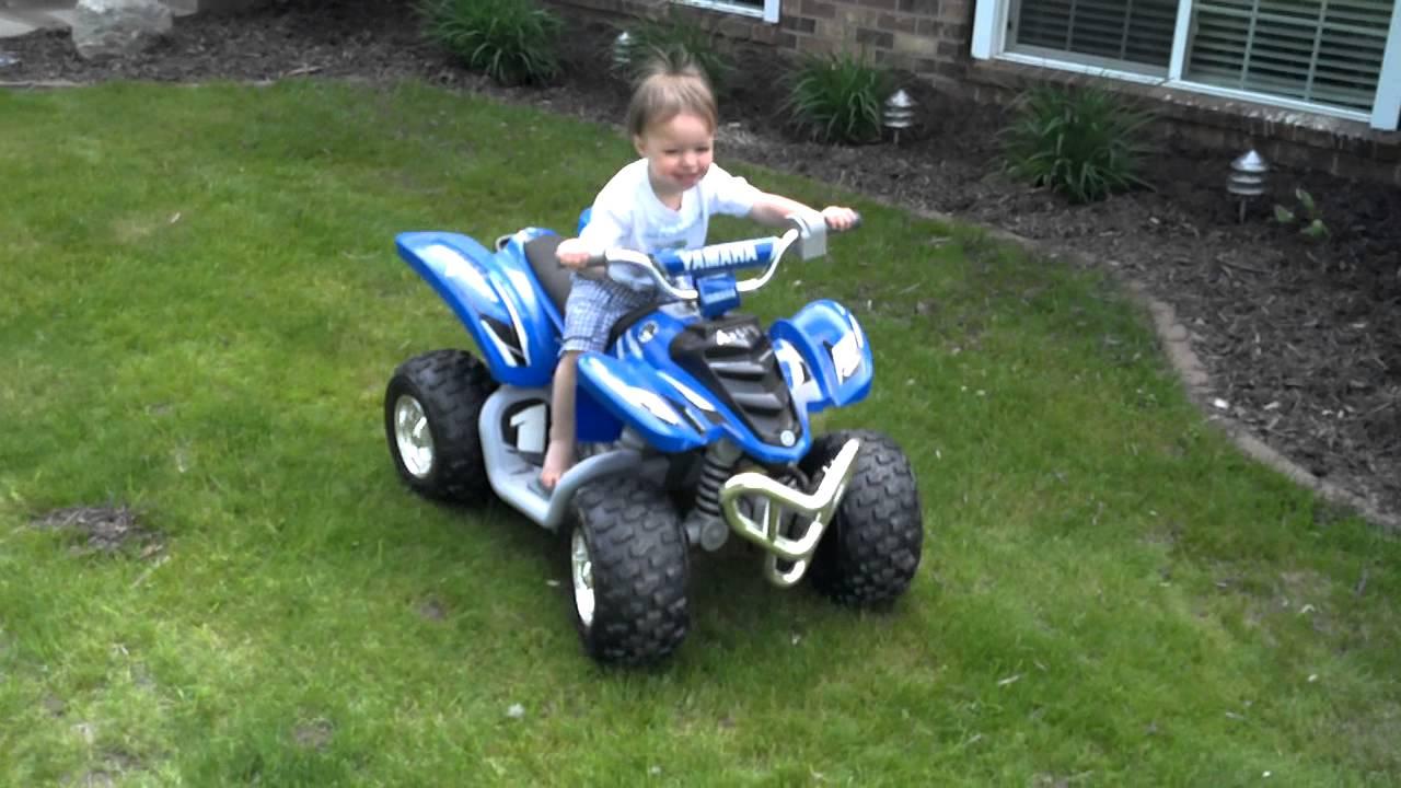 2 Yr Old Asher 1st Ride Yamaha Raptor Power Wheels Youtube