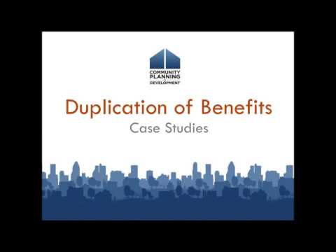CDBG-DR Training: Introduction to Duplication of Benefits
