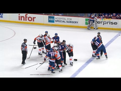 Flyers vs Islanders. Fights at the end of the match - 3 april 2018