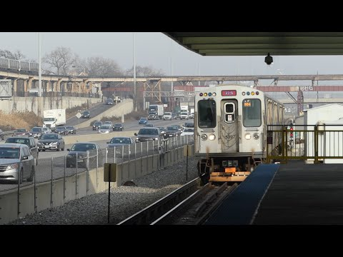 """CTA Transit: Bombardier 5000 Series """"L"""" Red Line feat. Green Line at 63rd Station (South Chicago)"""