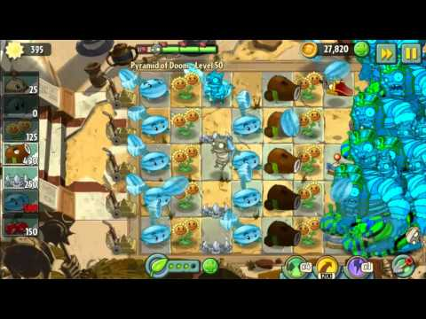 Pyramid of Doom Level 50 Perfect strategy - Plants vs Zombies 2 Endless Zone