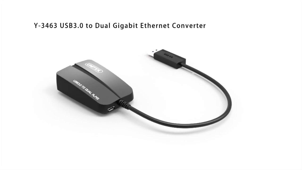 Kết quả hình ảnh cho Cáp USB 3.0 -> 2 LAN Unitek (Y - 3463)