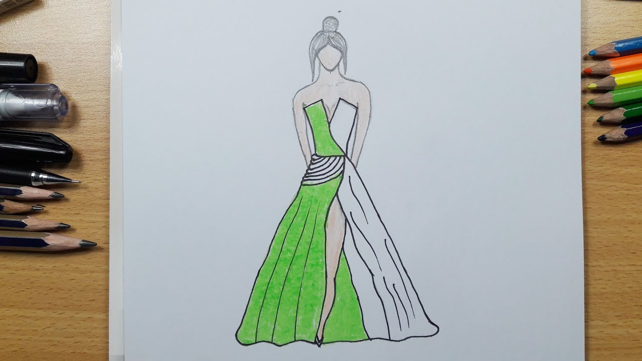 How to Draw a Wonderful Dress Easy Step by Step - YouTube