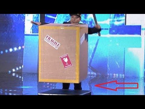 Иллюзионист и магия с коробкой. Таланты мира лучшее
