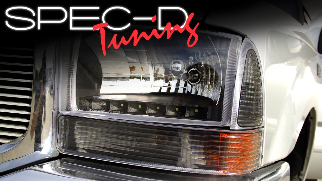 small resolution of specdtuning installation video 1999 2004 ford f250 f350 led headlights youtube