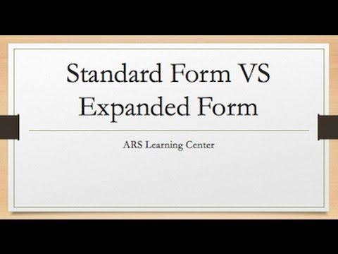 expanded form versus standard form  Standard Form VS Expanded Form
