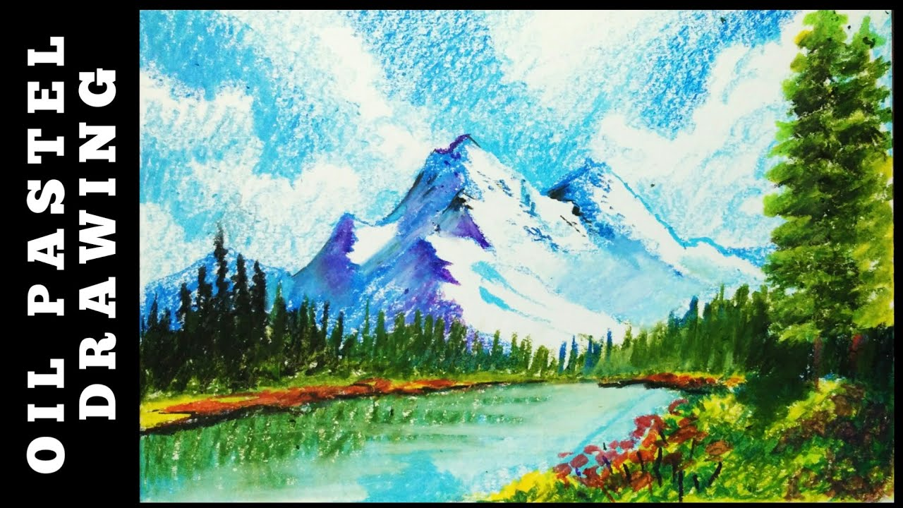 Landscape drawing with OIL pastels - beginners - OIL ...