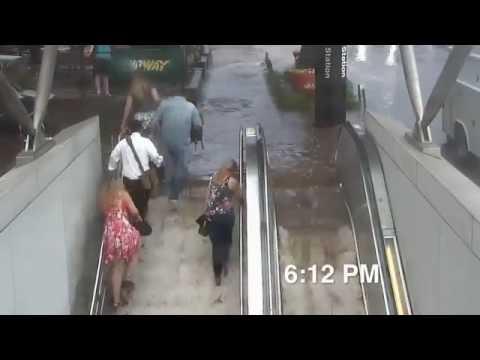 WASHINGTON, DC (Cleveland Park) Subway SUDDEN Flooding June 21, 2016