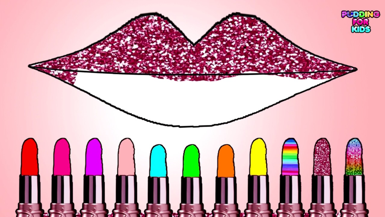 Learn Colors With Cute Lipstick Color Gritter And Lips Coloring