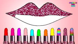 Learn Colors with Cute  Lipstick Color Gritter and Lips Coloring Page Lips Art Design Game for Kids