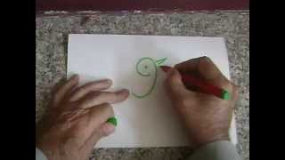 How to make a bird in implied line drawing with number 9