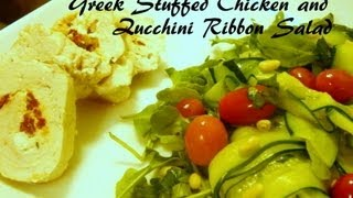 Greek Stuffed Chicken And Zucchini Ribbon Salad